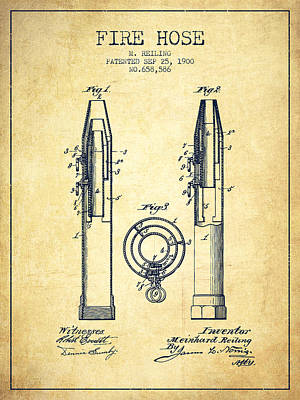 1900 Fire Hose Patent - Vintage Poster by Aged Pixel