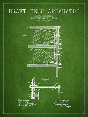 1901 Draft Beer Apparatus - Green Poster by Aged Pixel