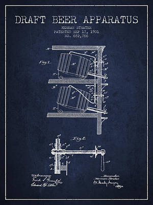 1901 Draft Beer Apparatus - Navy Blue Poster by Aged Pixel