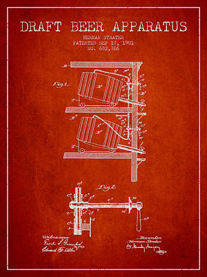 1901 Draft Beer Apparatus - Red Poster by Aged Pixel