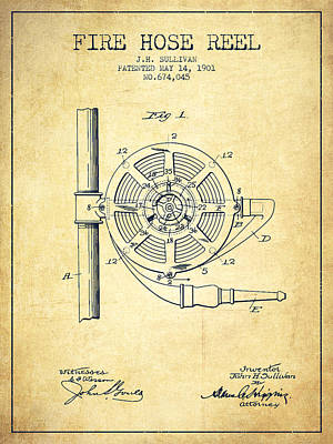1901 Fire Hose Reel Patent - Vintage Poster by Aged Pixel