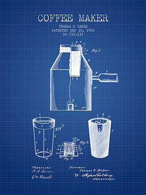 1902 Coffee Maker Patent - Blueprint Poster by Aged Pixel