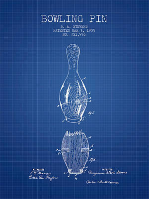1903 Bowling Pin Patent - Blueprint Poster by Aged Pixel