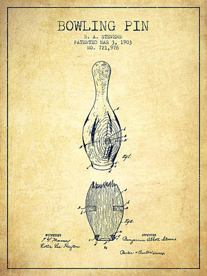 1903 Bowling Pin Patent - Vintage Poster by Aged Pixel