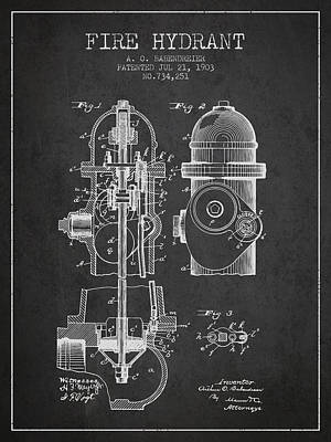 1903 Fire Hydrant Patent - Charcoal Poster by Aged Pixel