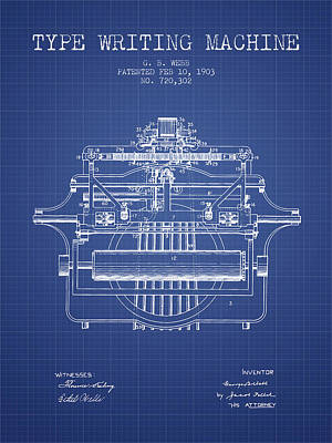 1903 Type Writing Machine Patent - Blueprint Poster by Aged Pixel