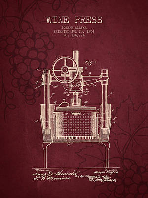 1903 Wine Press Patent - Red Wine Poster by Aged Pixel