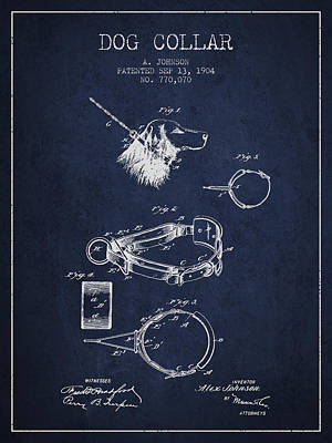 1904 Dog Collar Patent - Navy Blue Poster by Aged Pixel