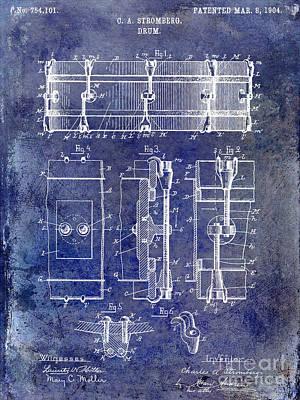 1904 Drum Patent Blue Poster by Jon Neidert