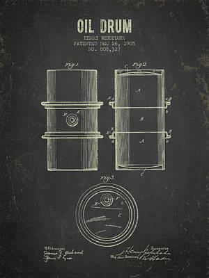 1905 Oil Drum Patent - Dark Grunge Poster by Aged Pixel