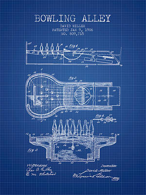 1906 Bowling Alley Patent - Blueprint Poster by Aged Pixel