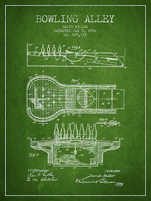 1906 Bowling Alley Patent - Green Poster by Aged Pixel