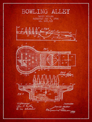 1906 Bowling Alley Patent - Red Poster by Aged Pixel