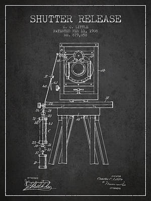1908 Shutter Release Patent - Charcoal Poster by Aged Pixel
