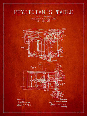 1910 Physicians Table Patent - Red Poster by Aged Pixel