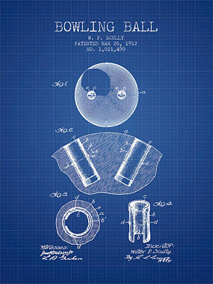 1912 Bowling Ball Patent - Blueprint Poster by Aged Pixel
