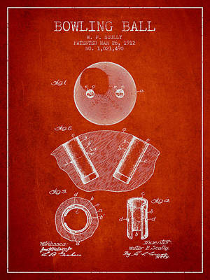 1912 Bowling Ball Patent - Red Poster by Aged Pixel