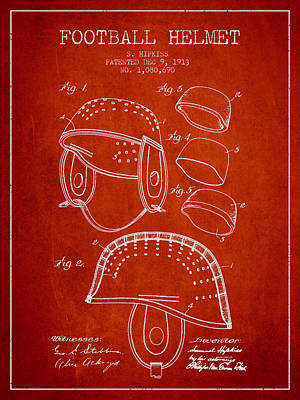 1913 Football Helmet Patent - Red Poster by Aged Pixel