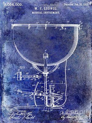 1913 Ludwig Drum Patent Blue Poster by Jon Neidert