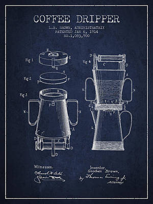 1914 Coffee Dripper Patent - Navy Blue Poster by Aged Pixel