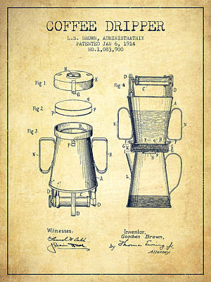 1914 Coffee Dripper Patent - Vintage Poster by Aged Pixel
