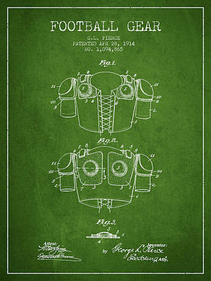 1914 Football Gear Patent - Green Poster by Aged Pixel