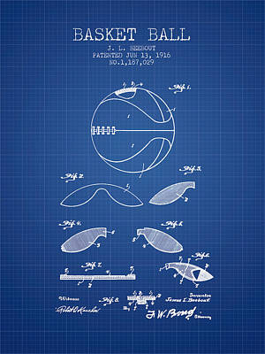 1916 Basket Ball Patent - Blueprint Poster by Aged Pixel