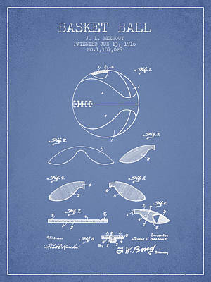 1916 Basket Ball Patent - Light Blue Poster by Aged Pixel