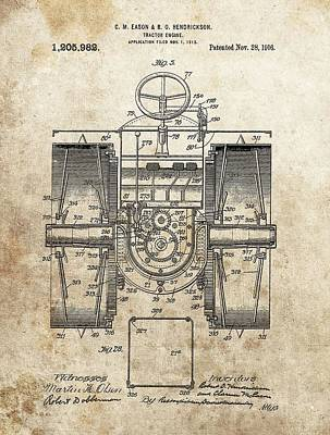 1916 Tractor Patent Poster by Dan Sproul