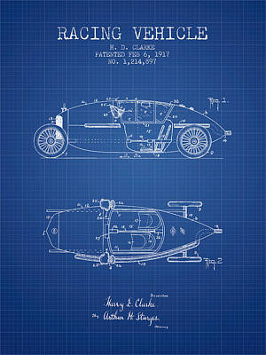 1917 Racing Vehicle Patent - Blueprint Poster by Aged Pixel