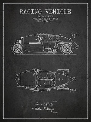 1917 Racing Vehicle Patent - Charcoal Poster by Aged Pixel