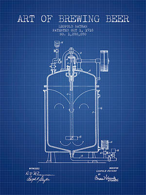 1918 Art Of Brewing Beer Patent - Blueprint Poster by Aged Pixel