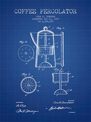 1919 Coffee Percolator Patent - Blueprint Poster by Aged Pixel