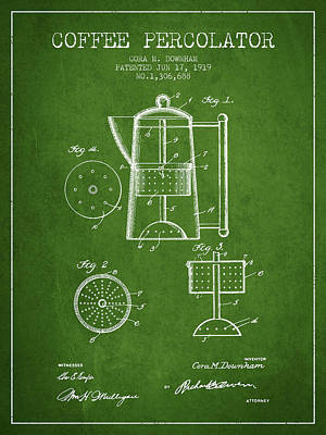 1919 Coffee Percolator Patent - Green Poster by Aged Pixel