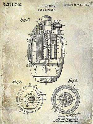 1919 Hand Grenade Patent Poster by Jon Neidert