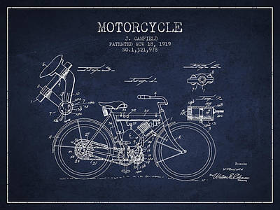1919 Motorcycle Patent - Navy Blue Poster by Aged Pixel