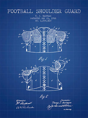 1926 Football Shoulder Guard Patent - Blueprint Poster by Aged Pixel