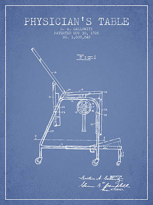 1926 Physicians Table Patent - Light Blue Poster by Aged Pixel
