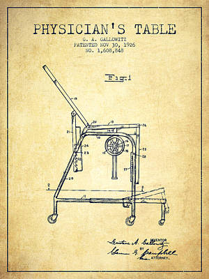 1926 Physicians Table Patent - Vintage Poster by Aged Pixel