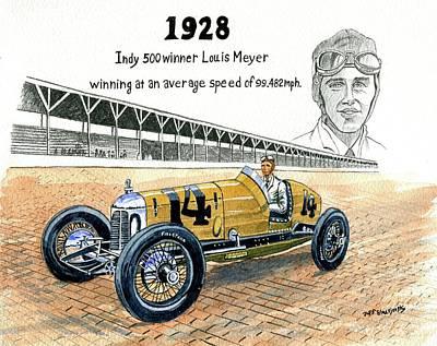 1928 Indy 500 Winner Louis Meyer Poster by Jeff Blazejovsky