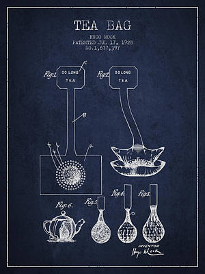 1928 Tea Bag Patent 02 - Navy Blue Poster by Aged Pixel