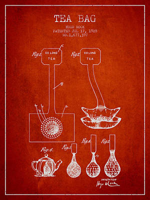 1928 Tea Bag Patent 02 - Red Poster by Aged Pixel