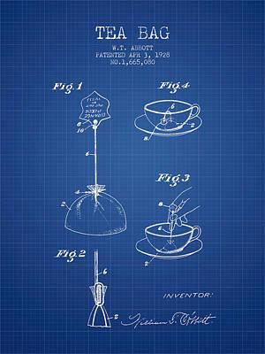 1928 Tea Bag Patent - Blueprint Poster by Aged Pixel