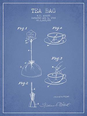 1928 Tea Bag Patent - Light Blue Poster by Aged Pixel