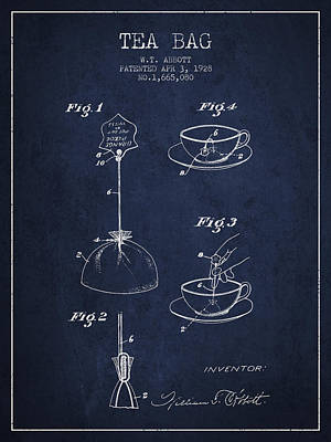 1928 Tea Bag Patent - Navy Blue Poster by Aged Pixel