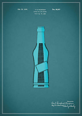 1930 Pepsi Cola Bottle Patent Poster by Mark Rogan