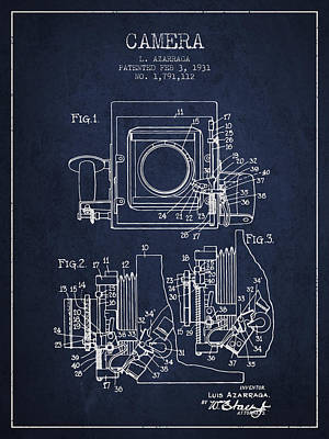 1931 Camera Patent - Navy Blue Poster by Aged Pixel