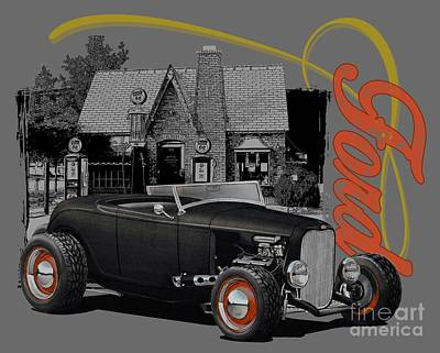 1932 Black Ford At Filling Station Poster by Paul Kuras
