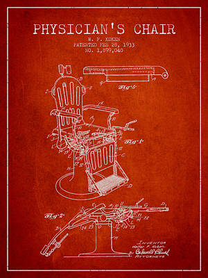 1933 Physicians Chair Patent - Red Poster by Aged Pixel