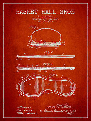 1934 Basket Ball Shoe Patent - Red Poster by Aged Pixel